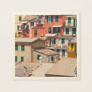 Servilleta Desechable Hogares coloridos en Cinque Terre Italia