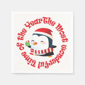 Servilleta Desechable La mayoría del pingüino maravilloso del navidad