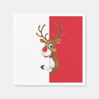 Servilleta Desechable La servilleta roja del navidad el | del reno de la