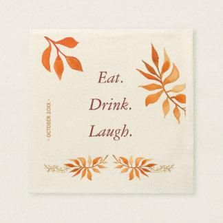 Servilleta Desechable Las hojas anaranjadas del moho del otoño comen al