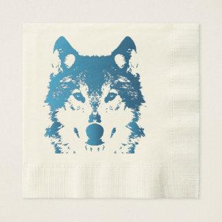 Servilleta Desechable Lobo de los azules claros del ilustracion