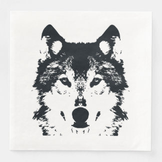 Servilleta Desechable Lobo negro del ilustracion
