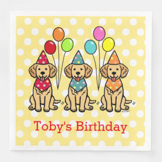 Servilleta Desechable Lunar del cumpleaños de los perritos del golden