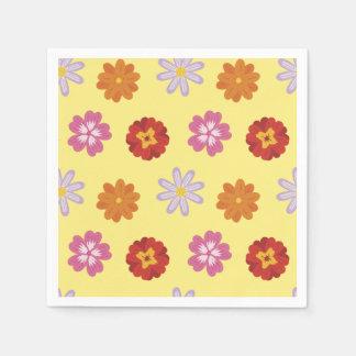 Servilleta Desechable Modelo floral retro de la margarita en amarillo