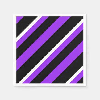 Servilleta Desechable Modelo rayado blanco negro púrpura