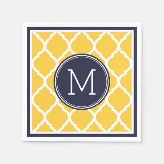 Servilleta Desechable Monograma del boda de Quatrefoil de los azules