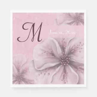 Servilleta Desechable Monograma pálido - floral rosado