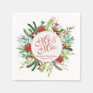 Servilleta Desechable Navidad floral personalizado que casa la