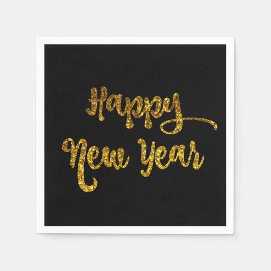 Servilleta Desechable Negro y servilletas de la Feliz Año Nuevo del
