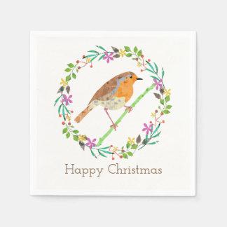 Servilleta Desechable Petirrojo el pájaro del navidad