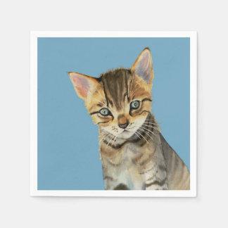 Servilleta Desechable Pintura de la acuarela del gatito de Shorthair del
