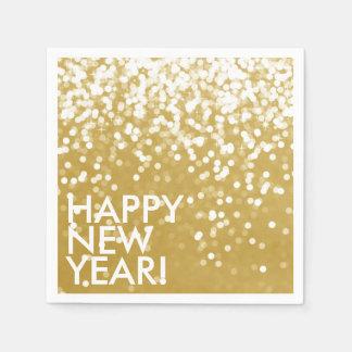 Servilleta Desechable Servilleta - oro chispeante de la Feliz Año Nuevo