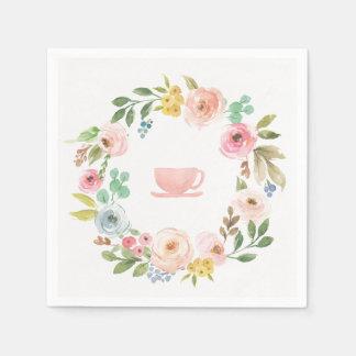 Servilleta Desechable Servilletas nupciales florales de la fiesta del té