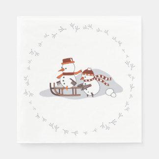 Servilleta Desechable Snowbirds en el trineo, ronda, servilletas