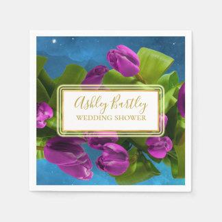 Servilleta Desechable Tulipanes púrpuras del espacio y etiqueta que