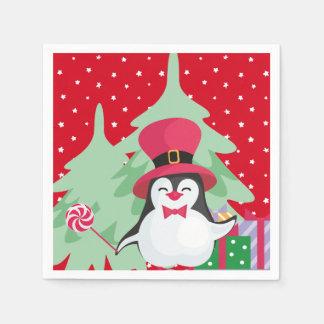 Servilleta Desechable Un pingüino festivo - 1