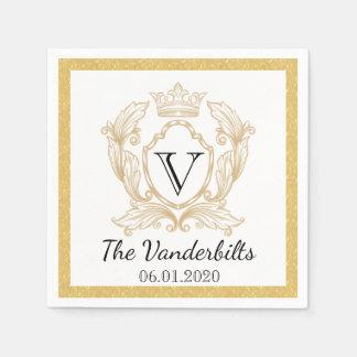 Servilleta elegante del boda del monograma del oro servilleta de papel