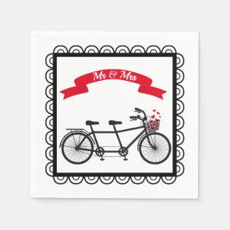 Servilleta en tándem del boda de la bicicleta servilletas desechables