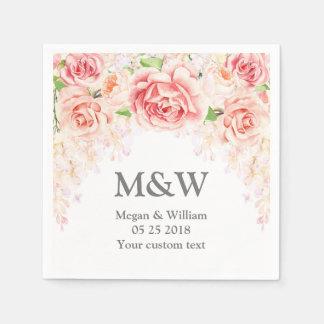 Servilleta floral del boda de la acuarela rosada servilleta de papel
