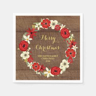 Servilleta floral roja de madera del navidad de la servilletas desechables