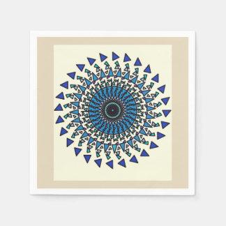 Servilleta geométrica azul del diseño del espiral servilleta desechable