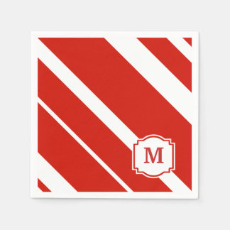 Servilleta intrépida roja y blanca del monograma servilletas desechables