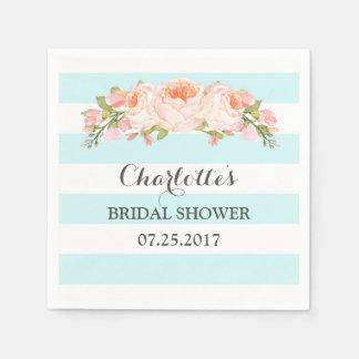 Servilleta nupcial floral de la ducha de las rayas servilletas desechables