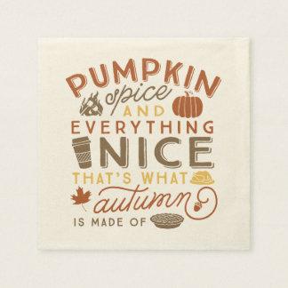 Servilleta tipográfica del cóctel del otoño de la servilleta desechable