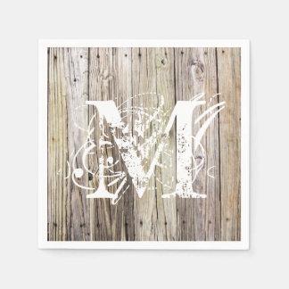 Servilletas cones monograma de madera rústicas del servilleta de papel