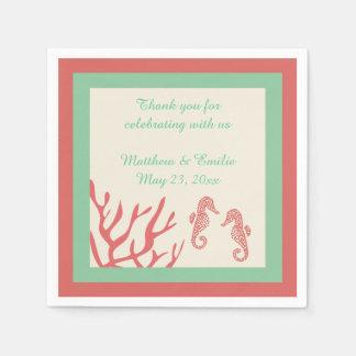 Servilletas coralinas personalizadas del boda del servilleta desechable