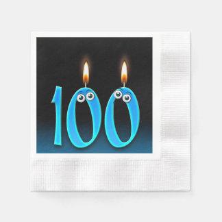 Servilletas De Papel 100a vela del cumpleaños con los globos del ojo