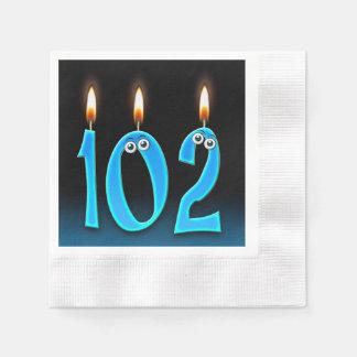 Servilletas De Papel 102a vela del cumpleaños con los globos del ojo