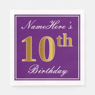 Servilletas De Papel 10mo cumpleaños elegante del oro púrpura, falso +