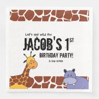 Servilletas De Papel 1r cumpleaños personalizado del safari, tema de la