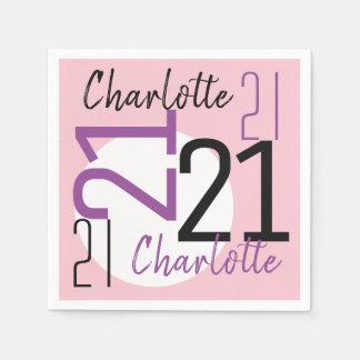 Servilletas De Papel 21ro Rosa púrpura del cumpleaños personalizado