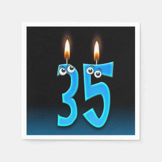 Servilletas De Papel 35ta vela del cumpleaños con los globos del ojo