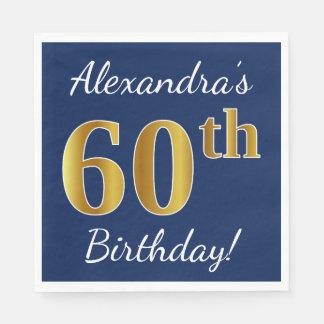 Servilletas De Papel 60.o cumpleaños del oro azul, falso + Nombre de