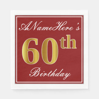 Servilletas De Papel 60.o cumpleaños elegante del oro rojo, falso +