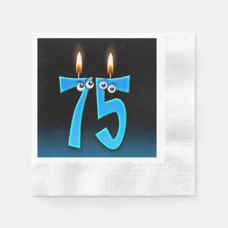 Servilletas De Papel 75.a vela del cumpleaños con los globos del ojo