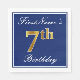 Servilletas De Papel 7mo cumpleaños elegante del oro azul, falso +