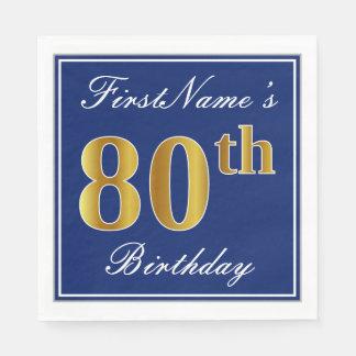 Servilletas De Papel 80.o cumpleaños elegante del oro azul, falso;