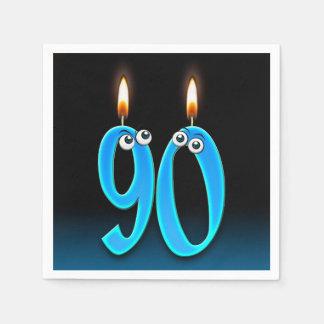 Servilletas De Papel 90.a vela del cumpleaños con los globos del ojo