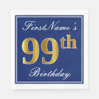 Servilletas De Papel 99.o cumpleaños elegante del oro azul, falso;