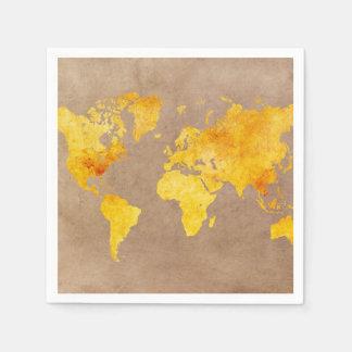 Servilletas De Papel amarillo del mapa del mundo