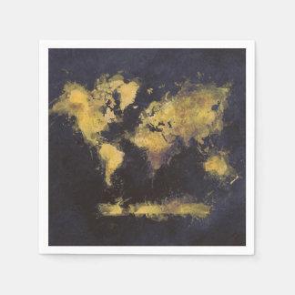 Servilletas De Papel amarillo negro del mapa del mundo
