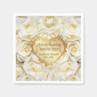 Servilletas De Papel Aniversario de boda del rosa blanco 50.o