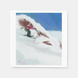 Servilletas De Papel Arte de la montaña de la nieve del esquí