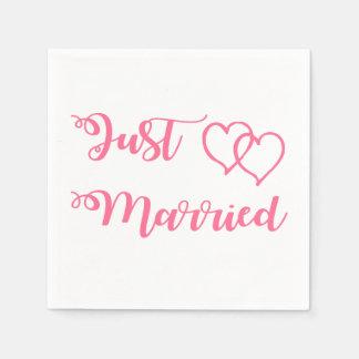 Servilletas De Papel Banquete de boda casado de los corazones del rosa