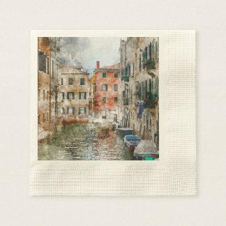 Servilletas De Papel Barcos en los canales de Venecia Italia