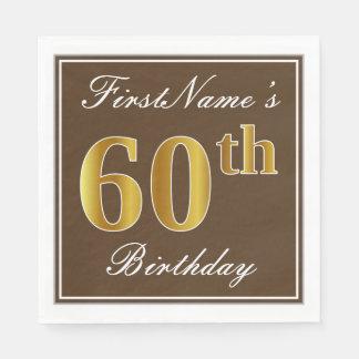 Servilletas De Papel Brown elegante, 60.o cumpleaños del falso oro +